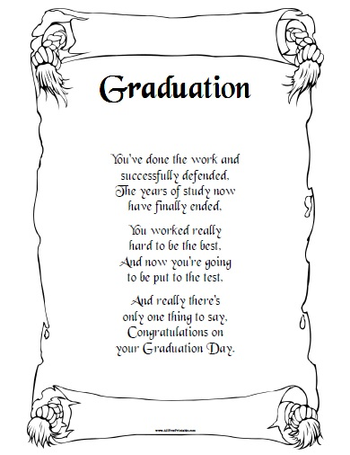 Free Printable Graduation Day Poem