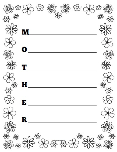 mother acrostic poem worksheet free printable. Black Bedroom Furniture Sets. Home Design Ideas