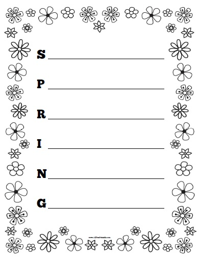 Free Printable Spring Acrostic Poem Worksheet