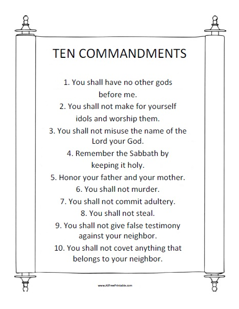 Zany image regarding free printable ten commandments