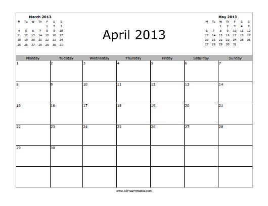 Free Printable April 2013 Calendar