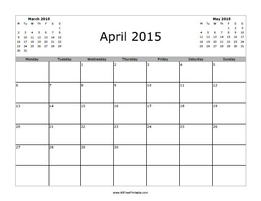 Free Printable April 2015 Calendar