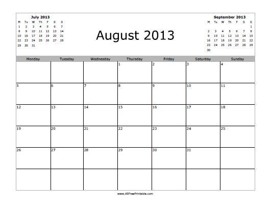 Free Printable August 2013 Calendar