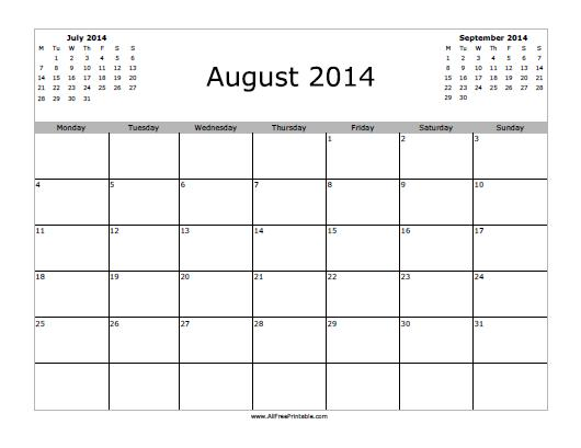 August Calendar 2014 : August calendar free printable allfreeprintable