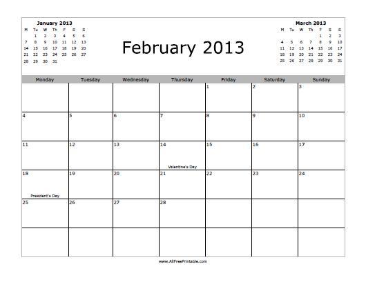 Free Printable February 2013 Calendar