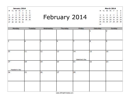 Free Printable February 2014 Calendar