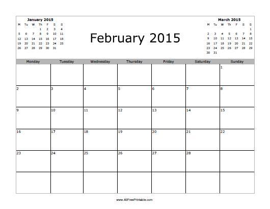 Free Printable February 2015 Calendar