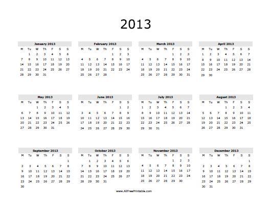 2013 Calendar - Free Printable - AllFreePrintable.com