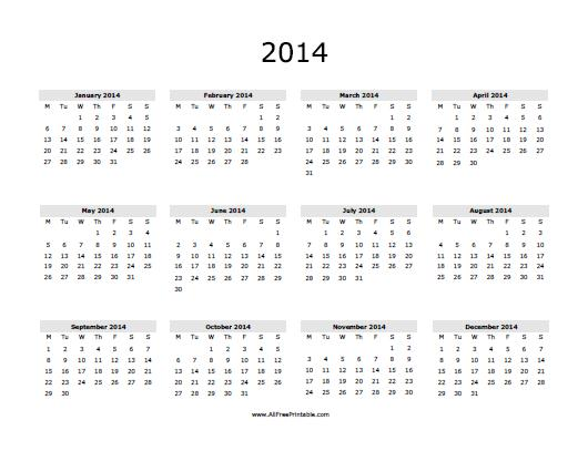 2014 calendar free printable for Fillable calendar template 2014