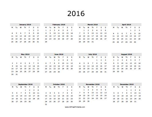 Printable 2016 Yearly Calendar | My Calendar Template Collection