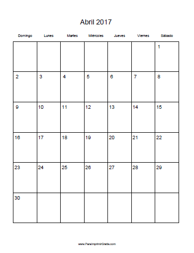 Free Printable 2017 Calendar in Spanish in Spanish