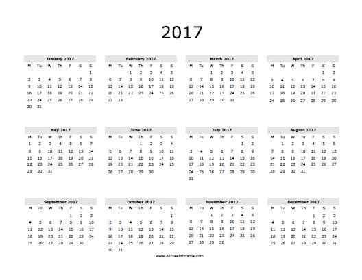 Free Printable 2017 Yearly