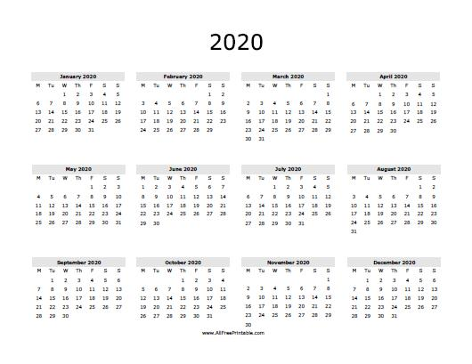 image regarding Printable Calendar 2020 known as 2020 Calendar - Cost-free Printable -