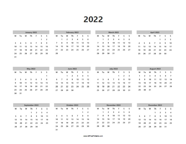 photograph relating to 2022 Calendar Printable referred to as 2022 Calendar - No cost Printable -