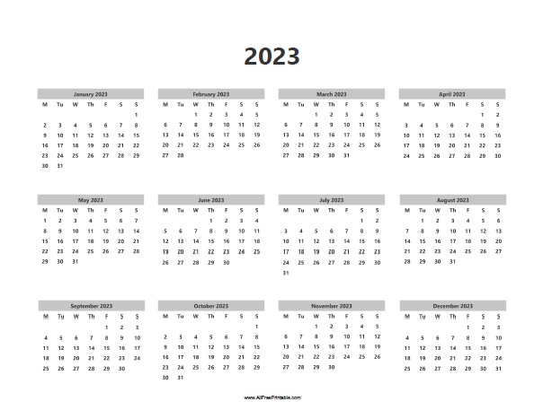 Free Printable 2023 Calendar