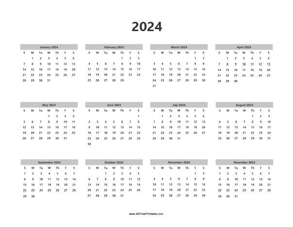 Free Printable 2024 Calendar