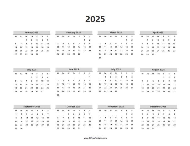 Free Printable 2025 Calendar