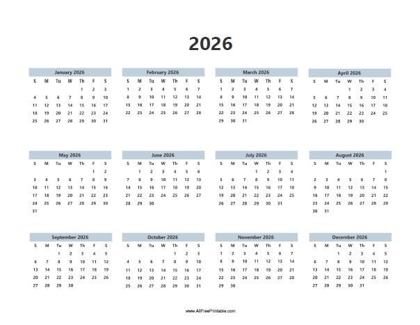 Free Printable 2026 Calendar