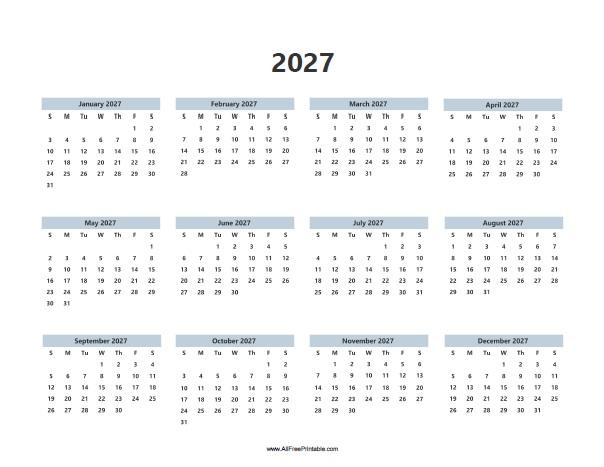 Free Printable 2027 Calendar