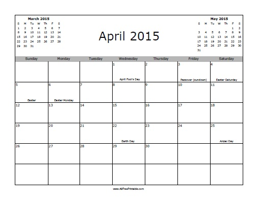 Free Printable April 2015 Calendar with Holidays