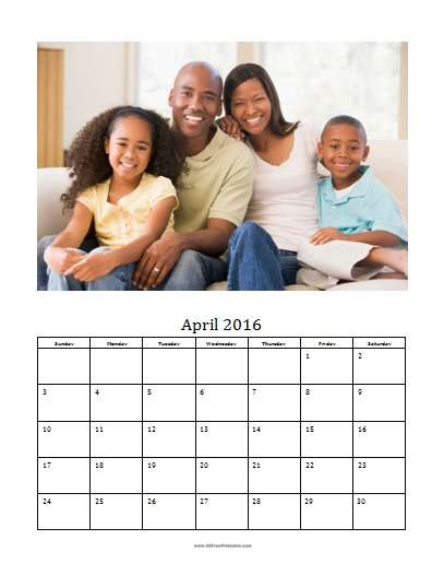 Free Printable April 2016 Photo Calendar Template