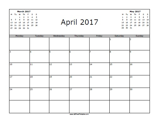 Calendar April 2017 : April calendar free printable allfreeprintable