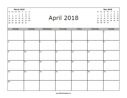 Calendar Typography Generator : April calendar free printable allfreeprintable