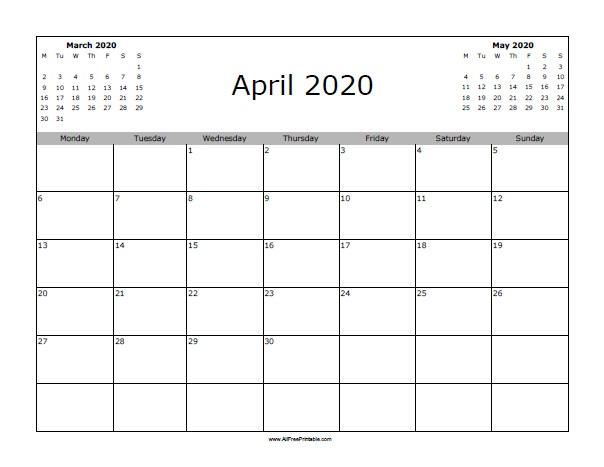 May Printable Calendar 2020.April 2020 Calendar Free Printable Allfreeprintable Com