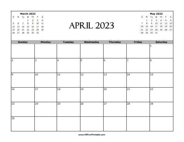 Free Printable April 2023 Calendar