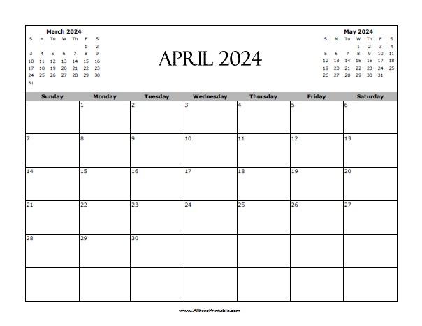 Free Printable April 2024 Calendar