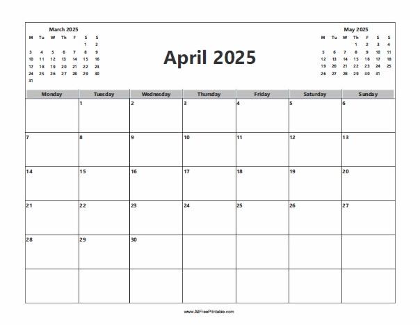 Free Printable April 2025 Calendar
