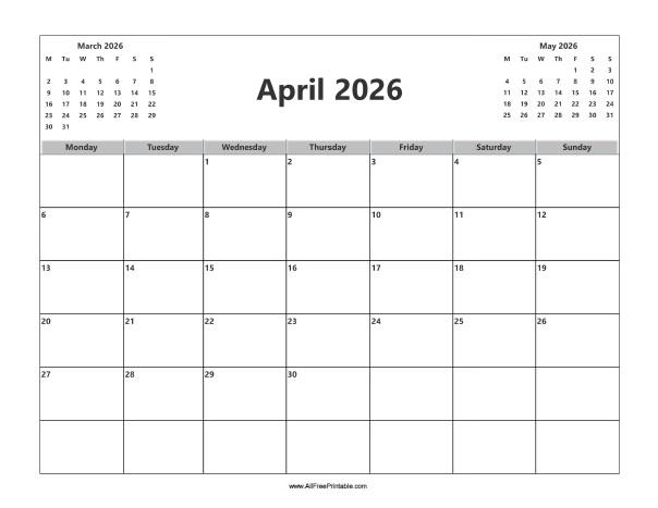Free Printable April 2026 Calendar