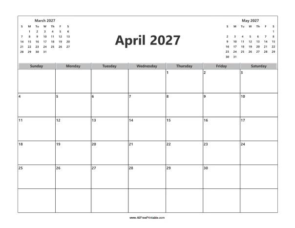 Free Printable April 2027 Calendar