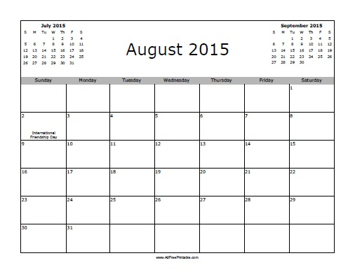 Free Printable August 2015 Calendar with Holidays