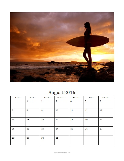 Free Printable August 2016 Photo Calendar Template
