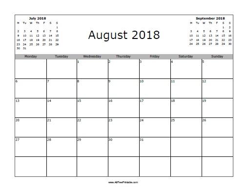 Free Printable August 2018 Calendar