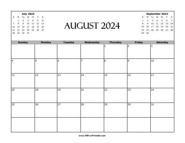Free Printable August 2024 Calendar