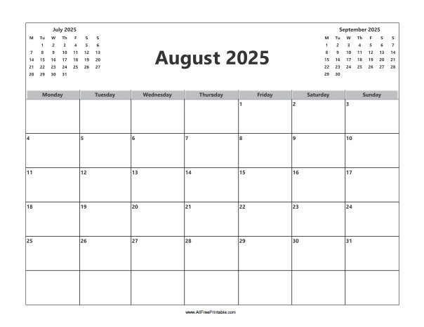 Free Printable August 2025 Calendar