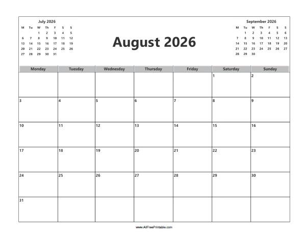 Free Printable August 2026 Calendar