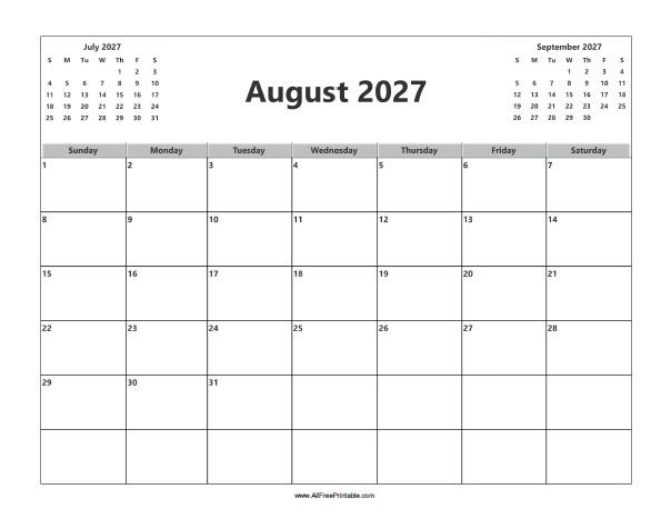 Free Printable August 2027 Calendar