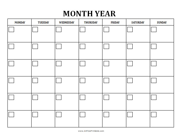 Blank Monthly Calendar - Free Printable - Allfreeprintable.Com