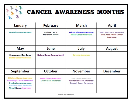 Free Printable Cancer Awareness Months Calendar