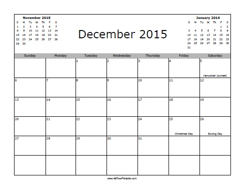 Free Printable December 2015 Calendar with Holidays