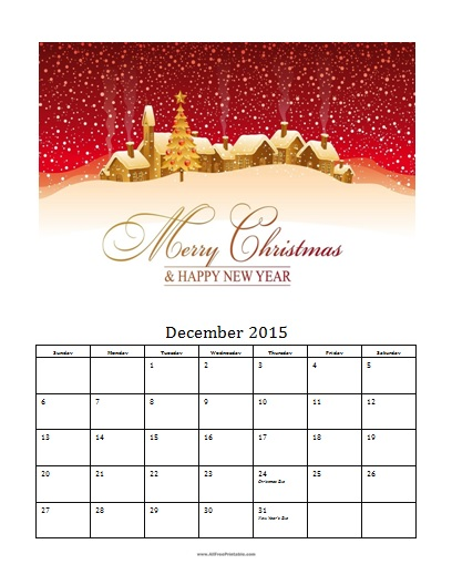 Free Printable December 2015 Photo Calendar Template