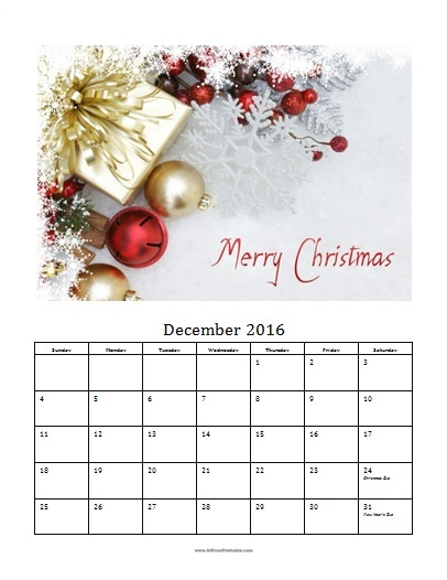 Free Printable December 2016 Photo Calendar Template