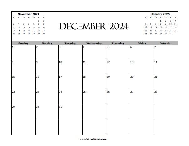 Free Printable December 2024 Calendar