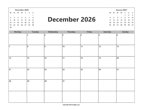 Free Printable December 2026 Calendar
