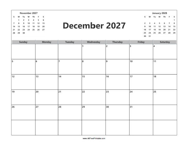 Free Printable December 2027 Calendar