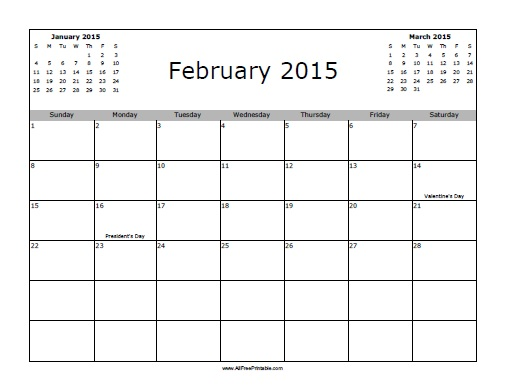 Free Printable February 2015 Calendar with Holidays