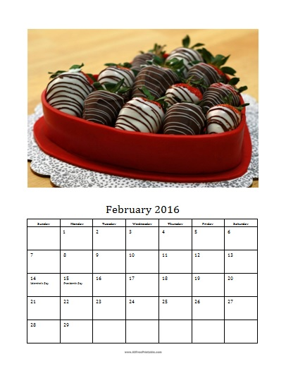Free Printable February 2016 Photo Calendar Template